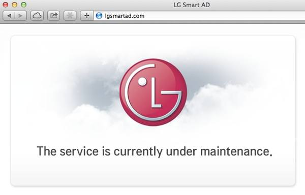 LG Smart Ad website down for maintenance