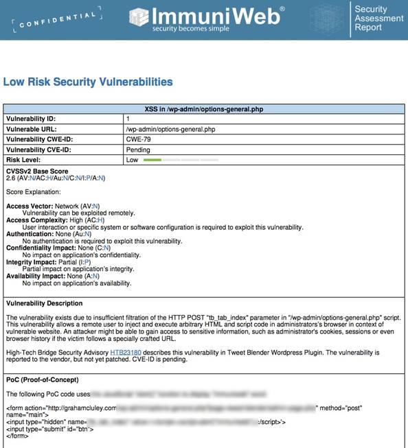 Details of vulnerability