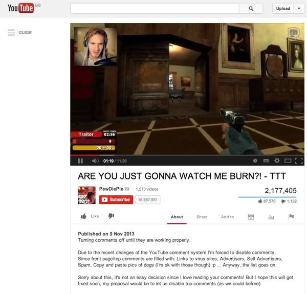 Turning YouTube comments off