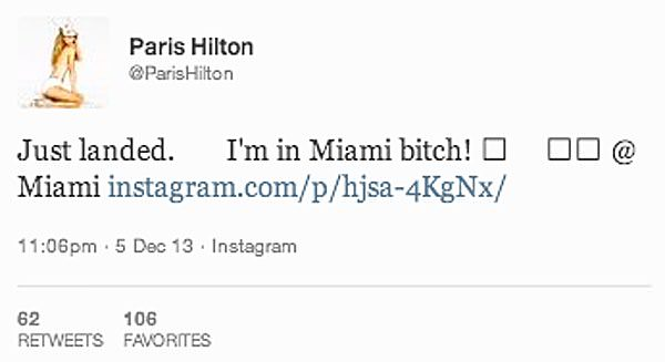 Genuine Paris Hilton tweet