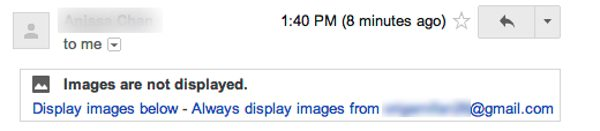 Images not displayed in Gmail