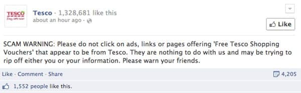 Tesco warns of Facebook scam