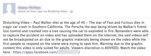 Paul Walker car crash Facebook scam
