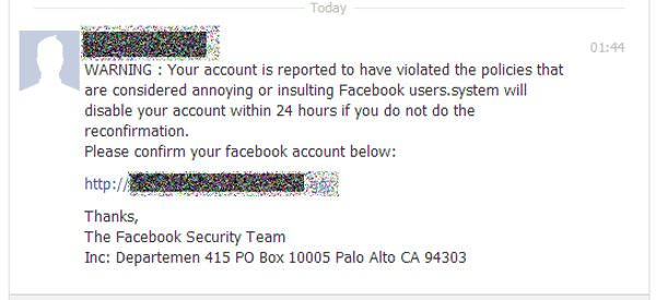 Facebook phishing