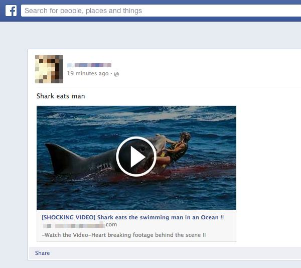 Shark eats swimming man video scam spreads on Facebook