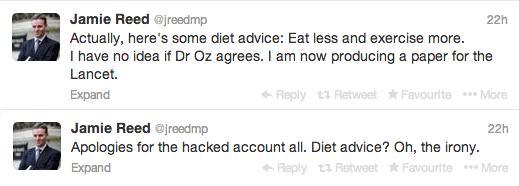 Jamie Reed diet spam