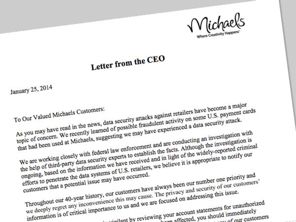 Michaels informs customers of possible data breach