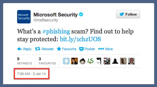 Microsoft tweet about phishing