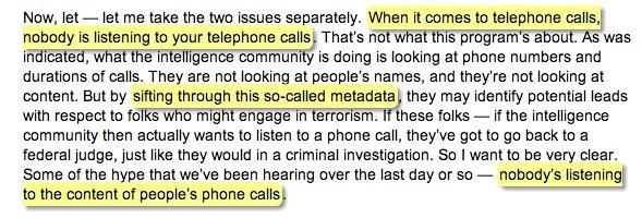 Part of Obama transcript
