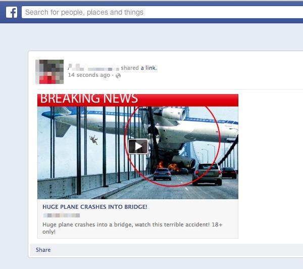 Plane crashes into bridge Facebook scam