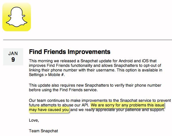 "Snapchat says sorry in a blog post. Highlighting of ""sorry"" by me."