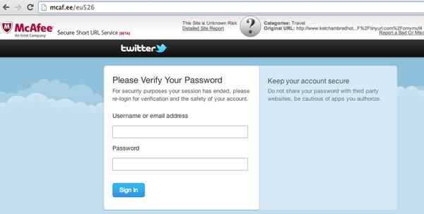 Twitter phishing with McAfee URL
