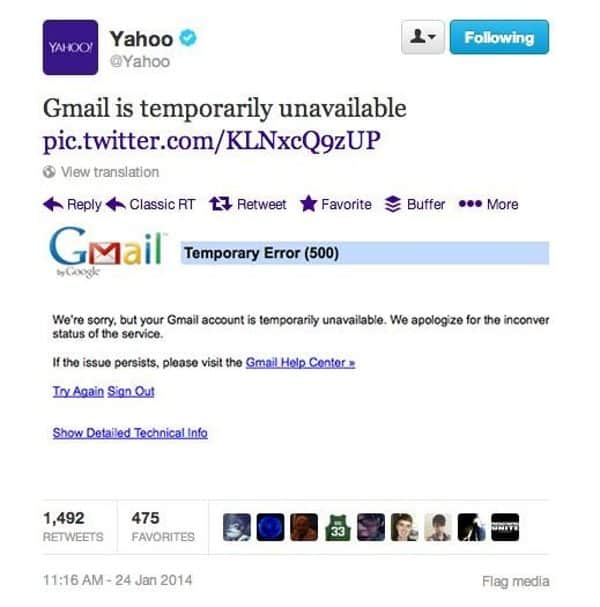 Yahoo tweets about Gmail outage