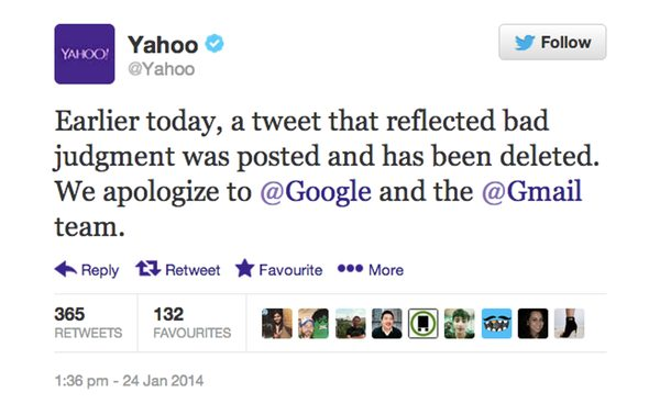 Yahoo apologises for Gmail tweet