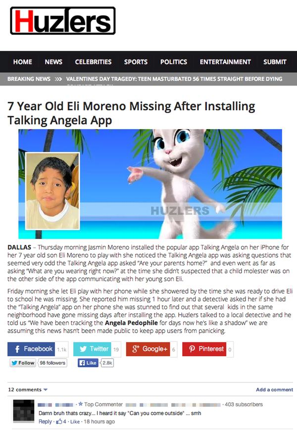 Hoax article about Talking Angela