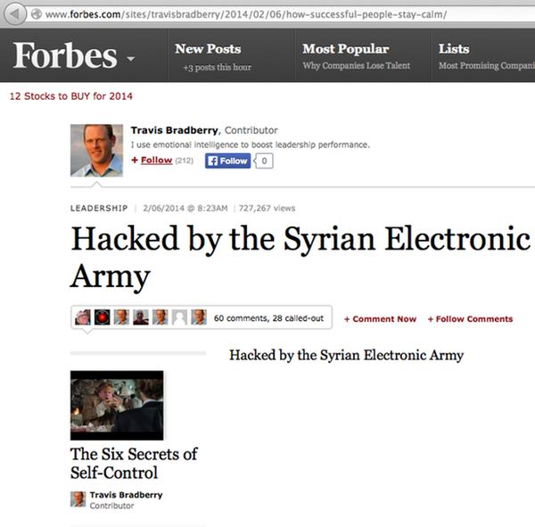 Forbes hacked by Syrian Electronic Army