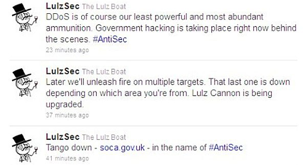 Tweets from LulzSec about DDoS attack on SOCA