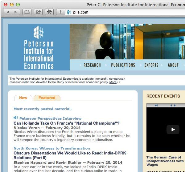 Peter G. Peterson Institute for International Economics website