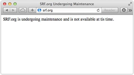 SRF website closed for maintenance