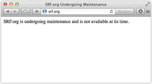SRF website closed for maintenance