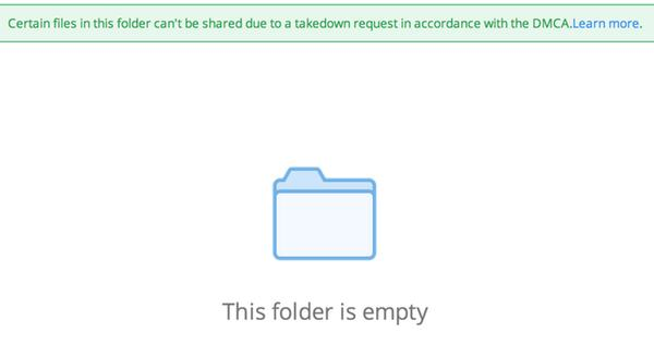 Dropbox folder empty after DMCA takedown request