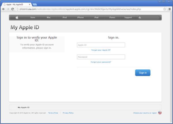 Fake Apple ID login screen