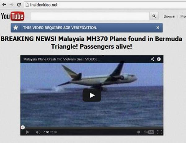 Breaking news about flight MH370 scam
