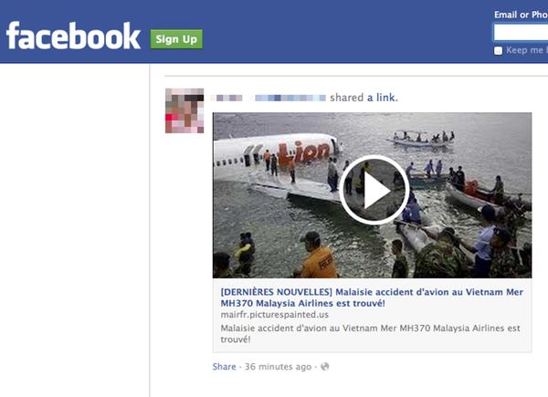 French MH370 Facebook scam