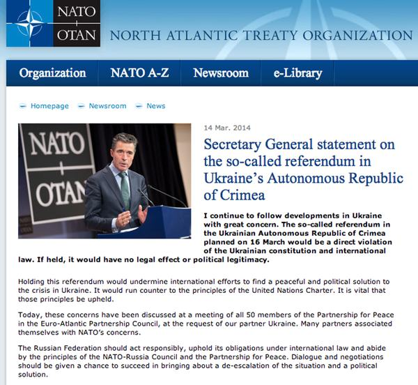 NATO statement on Ukraine referendum