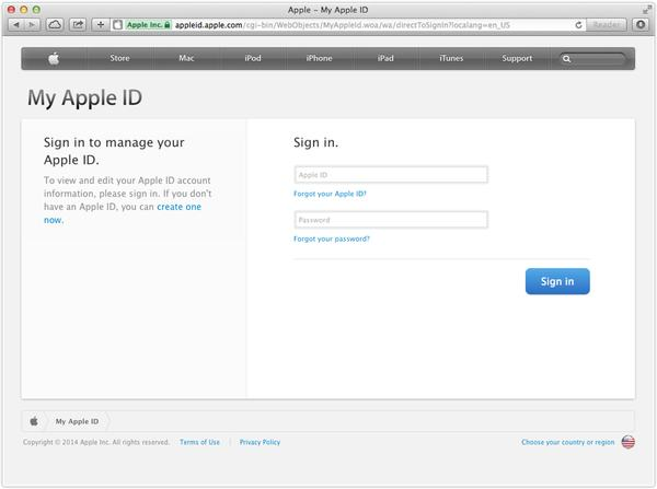 Genuine Apple ID login page