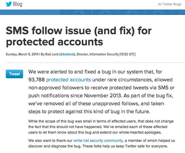 Twitter privacy bug