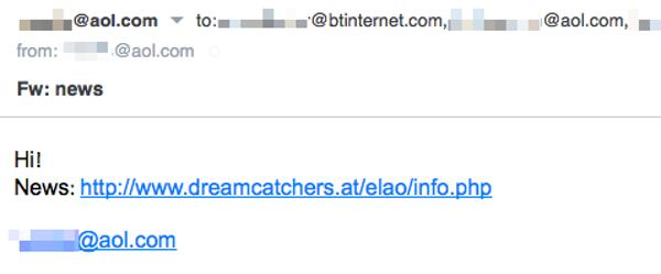 Spam email from an AOL address