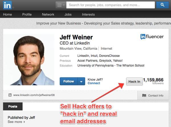 Sell Hack on LinkedIn CEO's profile