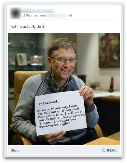 Bill Gates share hoax, referencing Windows XP