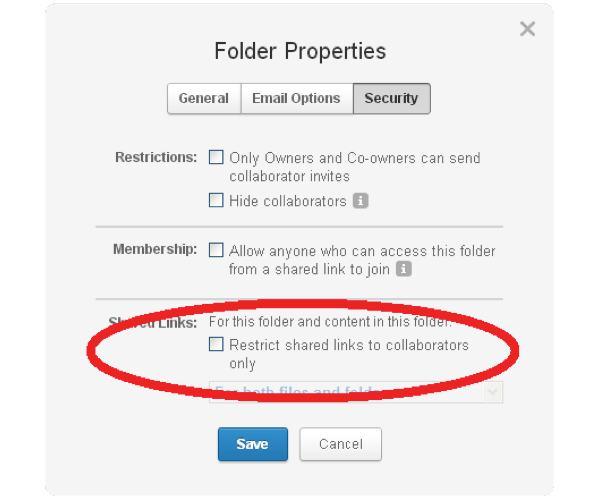 Security option on Box