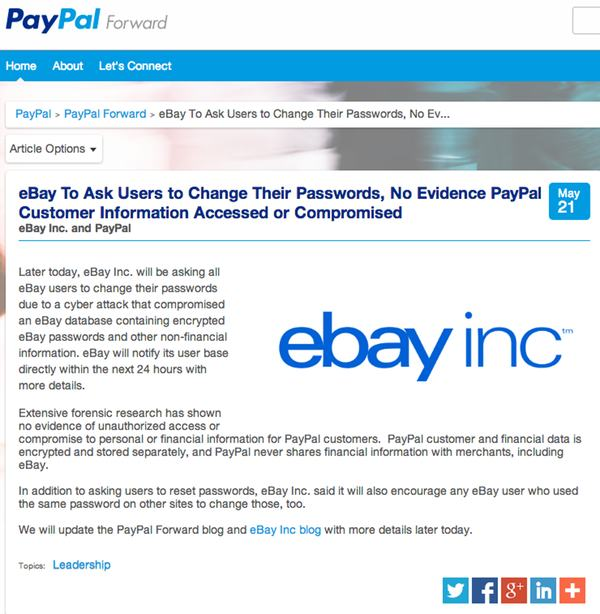 eBay announcement