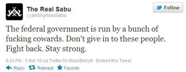 Tweet from Sabu