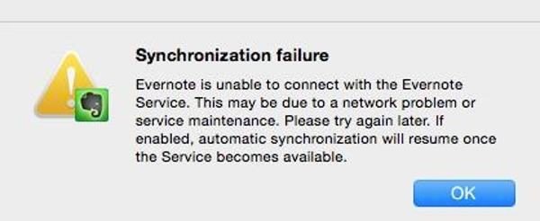 Evernote failure