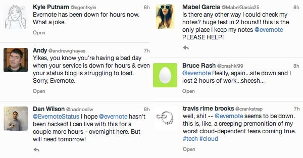 Evernote users complain on Twitter