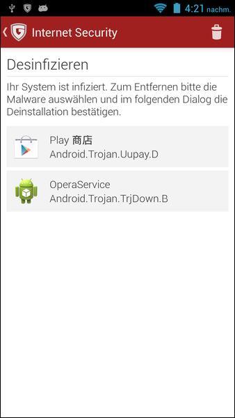 G Data screenshot of Android malware detection