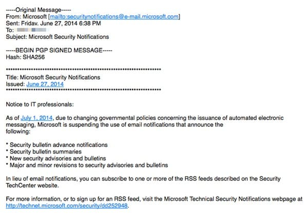 Microsoft to stop sending security emails