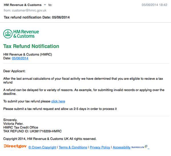 Beware Fake HMRC Tax Refund Notification Emails