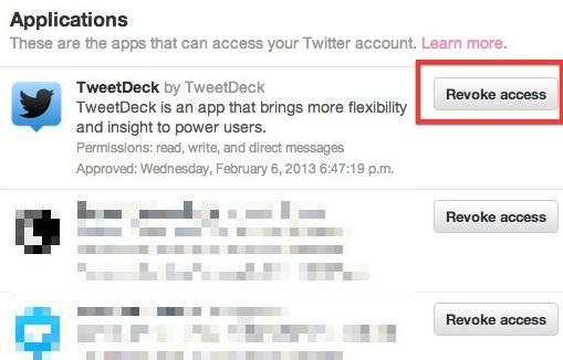 Revoke Tweetdeck's access to your account