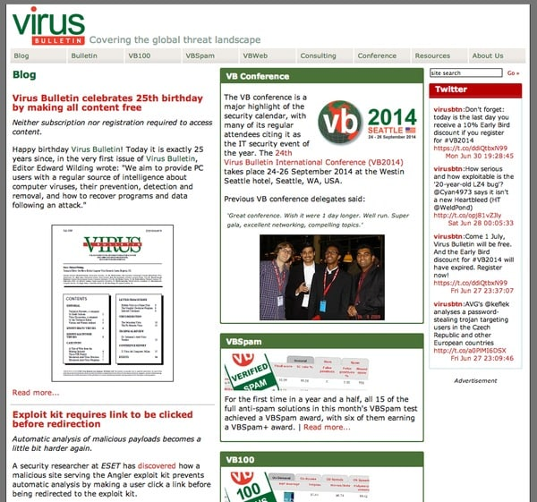 Virus Bulletin website