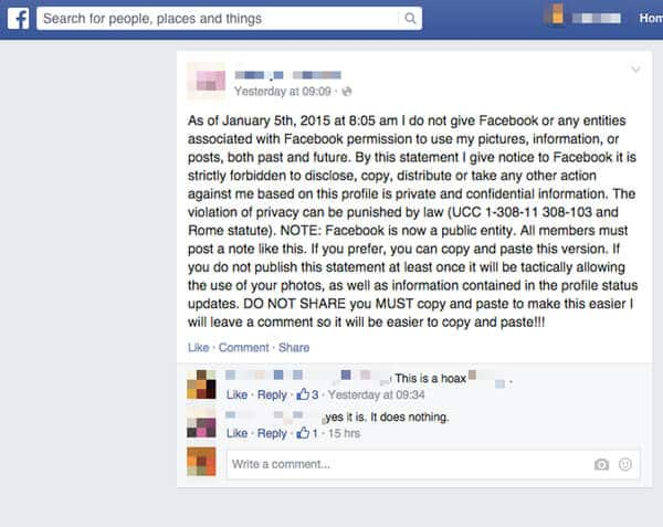 Facebook privacy hoax