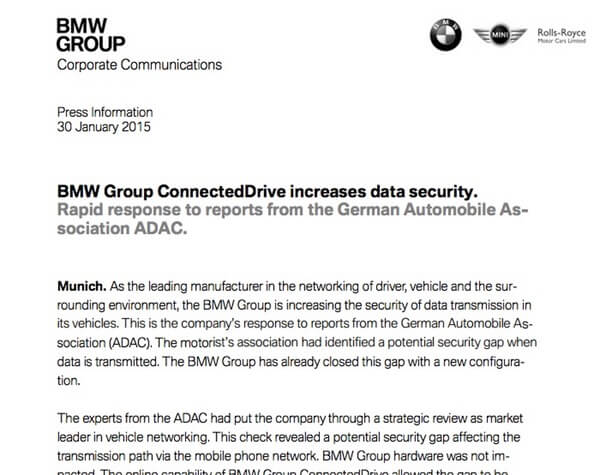 BMW press statement