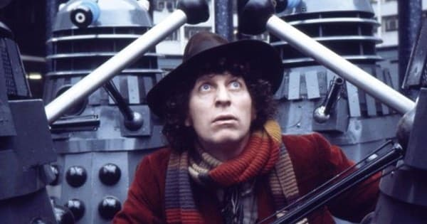 Tom Baker and the Daleks promotional picture