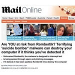 Malware suicide-bombing, as described by the Daily Mail and Weekly World News