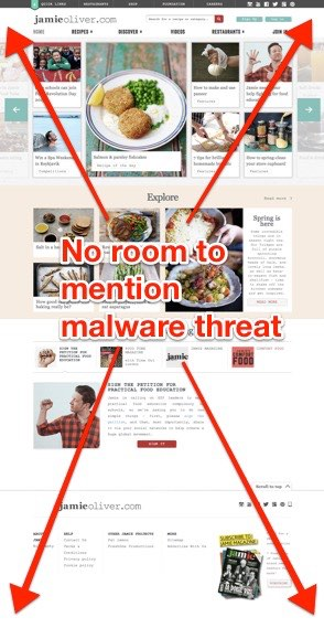 No room to mention malware on Jamie Oliver's website