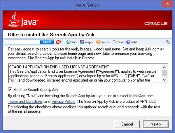 ASK Toolbar via Java update